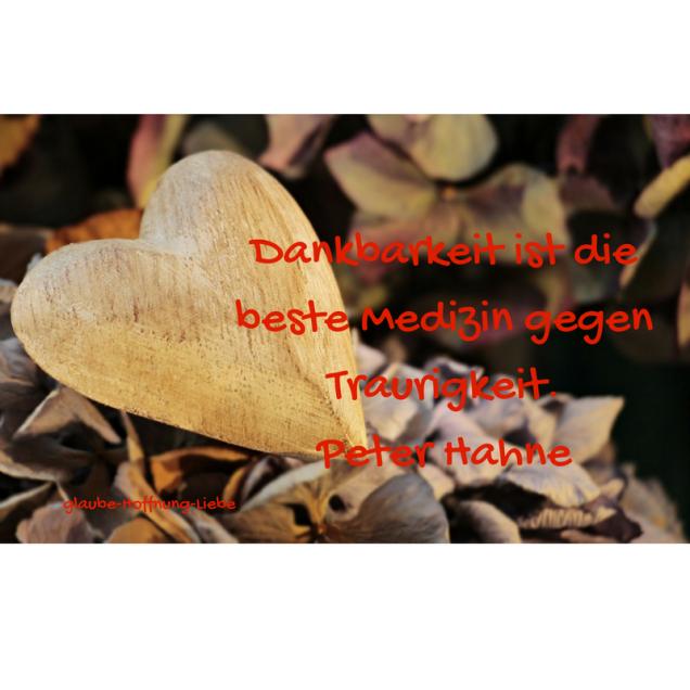 Dankbarkeit ist die beste Medizin gegen Traurigkeit.Peter Hahne